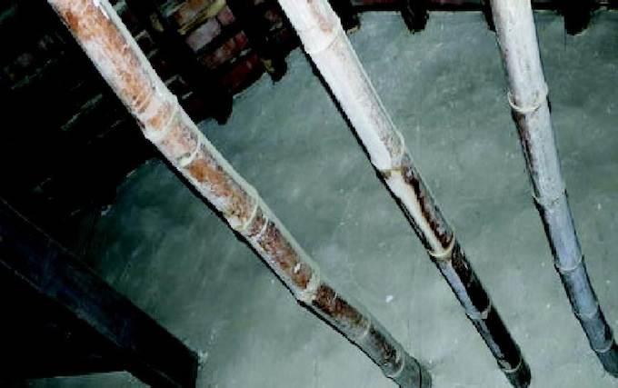 主屋房內屋頂掛籃用竹架